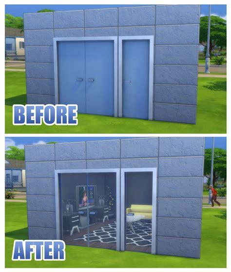 mod  sims fix  simple glass double door  stark