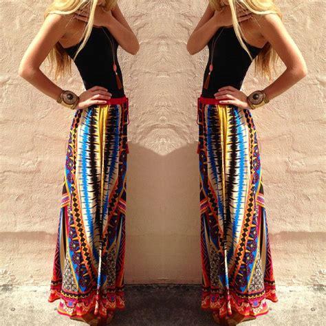 Wst 8067 Bohemian Dress floral boho print high waist pleated summer