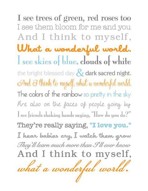 printable lyrics what a wonderful world what a wonderful world song lyrics print by thecontrarycaptain
