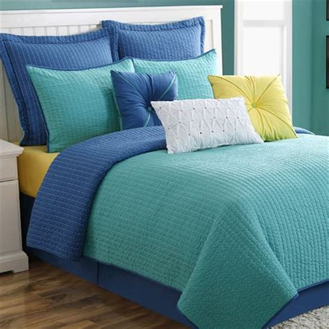 Turquoise Quilts And Coverlets Dash Turquoise Blue Reversible Coverlet Set By