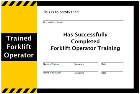 forklift certification card best and various templates