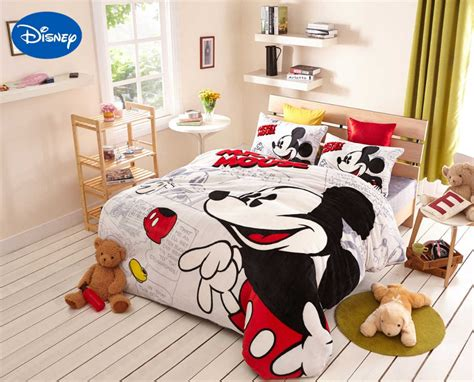 mickey mouse bedding full aliexpress com buy cartoon mickey mouse print flannel