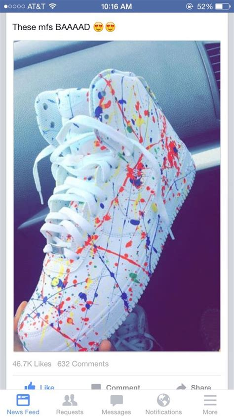 colorful air ones nike sneakers shoes air 1 af1 white painting