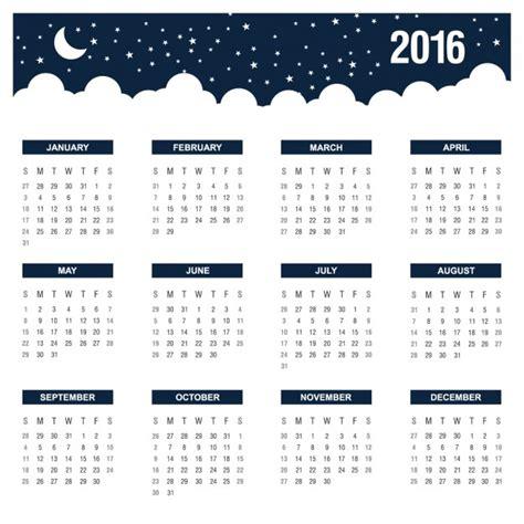 calendario anual de noche 2016 descargar vectores gratis
