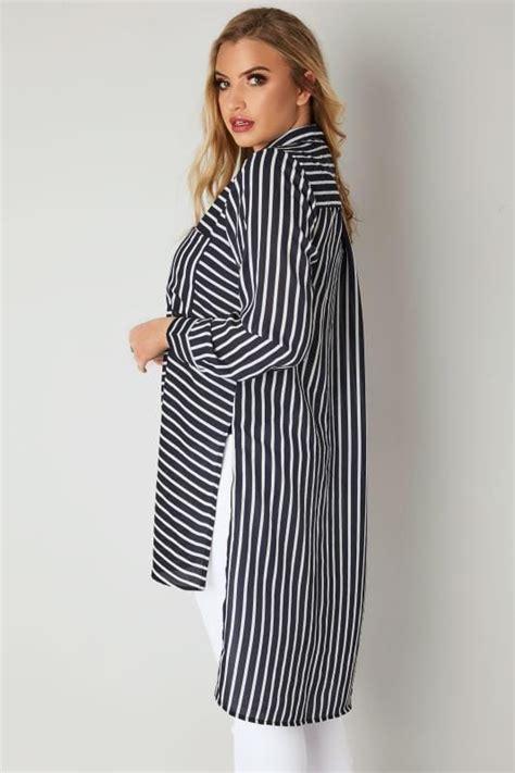 Gap Navy Silky Shirt T3010 navy white stripe shirt with dipped hem plus size 16 to 32