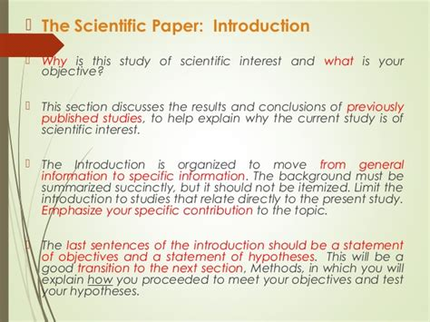 writing scientific papers in writing scientific papers introduction