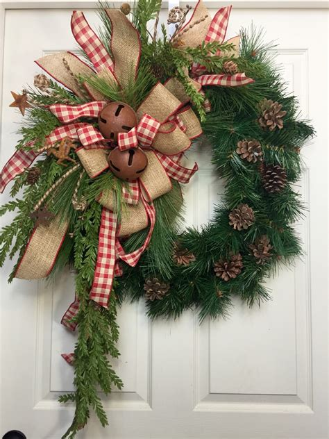 holiday wreath country wreath christmas burlap rustic pine wreath