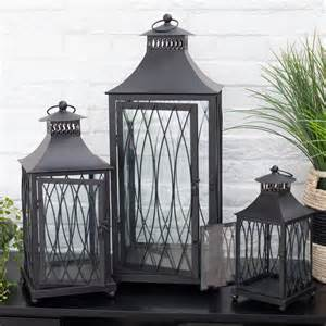 black metal lantern set 3 candle holder modern decor