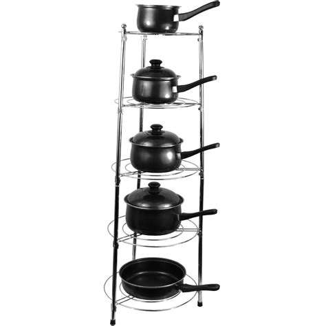 five tier kitchen pan stand saucepan pot rack holder