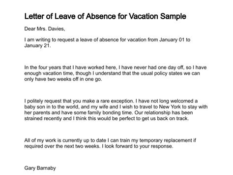 Sle Letter Of Absence From Work For Vacation Letter Of Leave Of Absence