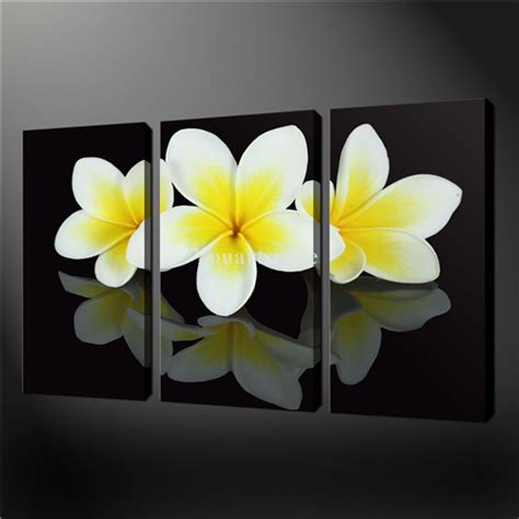 3 wall painting pictures print on canvas black and white yellow frangipani flowers the jpg