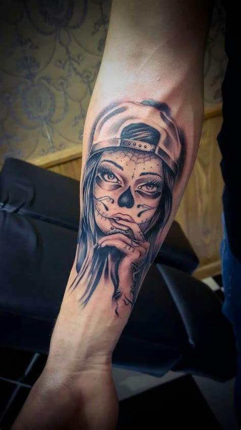 tattooed santa happy finish tattoogirl catrina santa muerte
