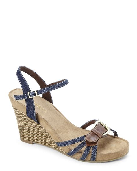 aerosol sandals aerosoles denim plush around wedge sandals in lyst