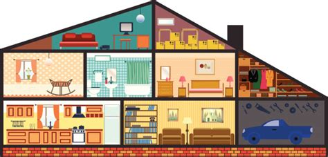 house interior cartoon car in home interior cartoon house vector art thinkstock treintainueve