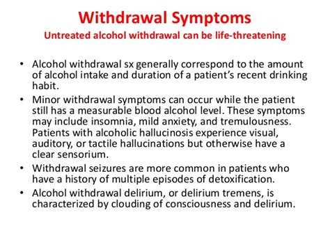Length Of Detox Symptoms by Withdrawal