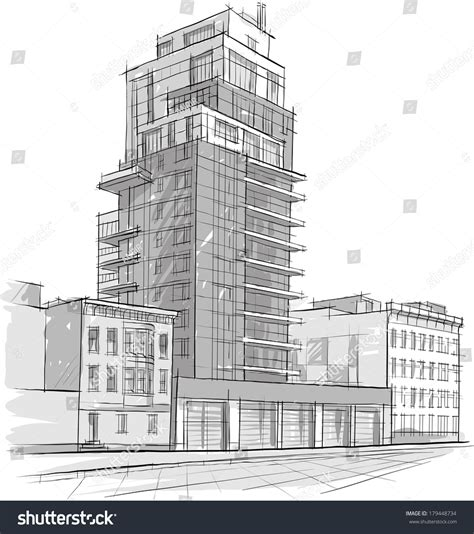 building sketch architecture sketch drawing buildingcity stock vector