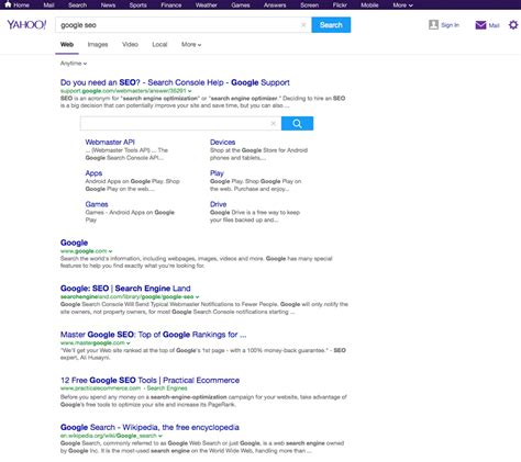 Search On Yahoo Yahoo Search Testing Like Interface Search Engine Optimization Spartan