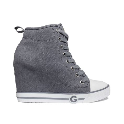 g by guess sneakers g by guess womens majestey wedge high top sneakers in gray