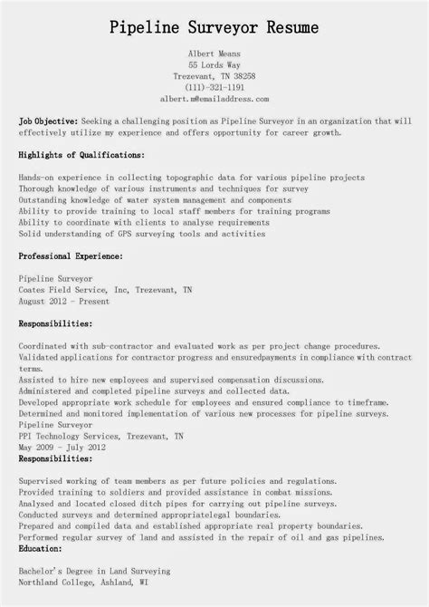 Resume Samples: Pipeline Surveyor Resume Sample