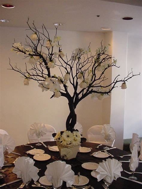 White Roses Gerbera Daisy Manzanita Tree Wedding Centerpiece White Manzanita Tree Centerpiece