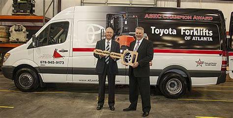 Atlanta Toyota Service Toyota Forklifts Of Atlanta Receives Award And New Service