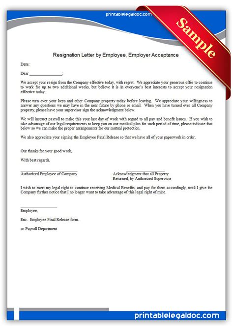 Acceptance Of Resignation Letter Not Working Notice Period Free Printable Resignation Letter By Employee Employer Acceptance Form Generic