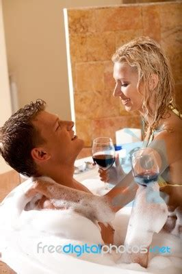 Bathtub For Couples by Bath With Wine Stock Photo Royalty Free