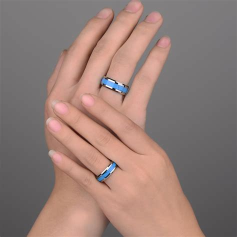 Turquoise Inlaied Tungsten Wedding Bands Set for Men and