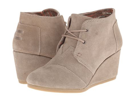 toms desert wedge taupe suede booties fall wide calf boots