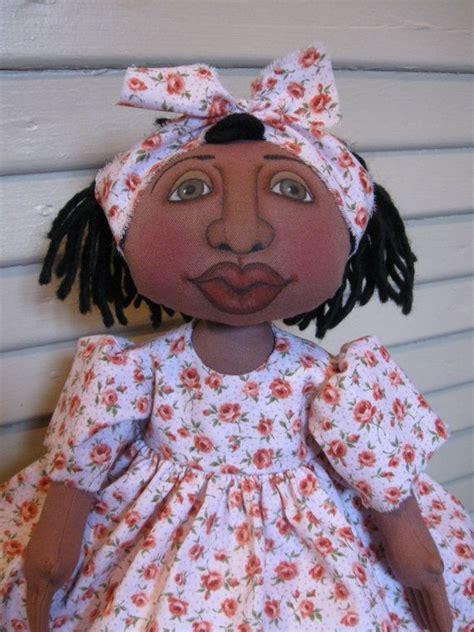 Handmade Black Dolls - reserved for peggy folk black doll handmade cloth doll