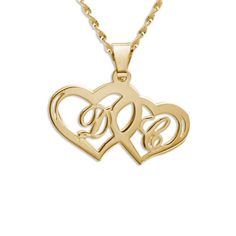 personalised 18ct gold sterling silver initial hearts