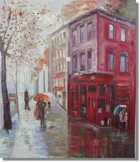 house painter london knife painting london red house street scene painting on canvas