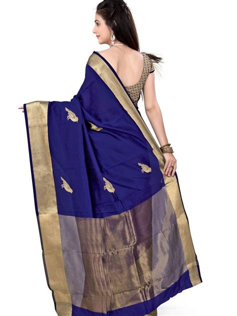 Navy Blue Silk Blouse by Buy Navy Blue Printed Tassar Silk Saree With Blouse