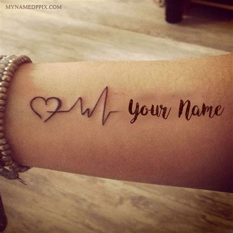unique love tattoo designs write name on heartbeat image lover name on