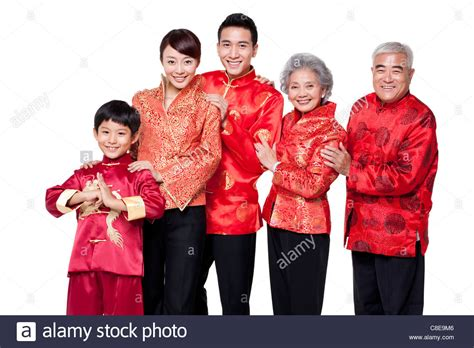 new year buy new clothes family dressed in traditional clothing celebrating