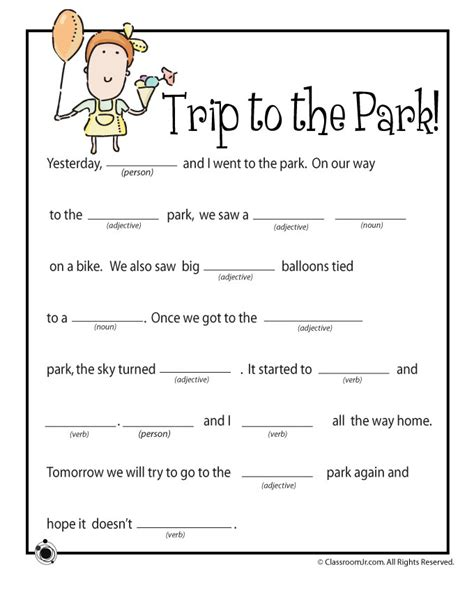 Mad Libs Letter Printable by Mad Libs A Trip To The Park Woo Jr
