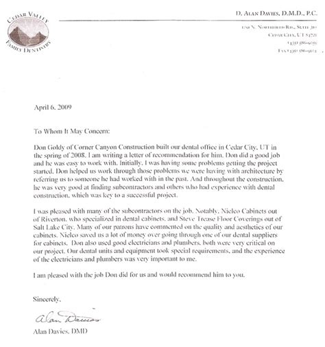 Recommendation Letter Format For Dental School Clients Corner Construction