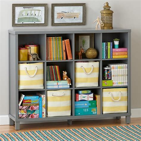 twelve cube wide bookcase grey the land of nod