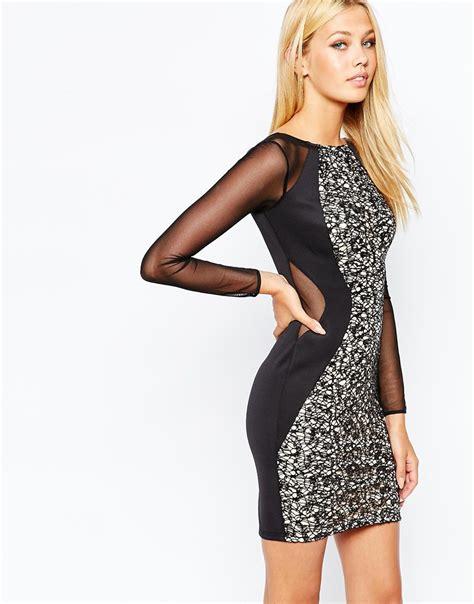 Dress Mini Kombi 3 lyst lipsy keegan sleeve glitter lace mini dress in black