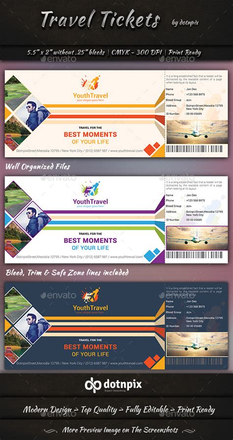 Travel Tickets By Dotnpix Graphicriver Travel Ticket Template