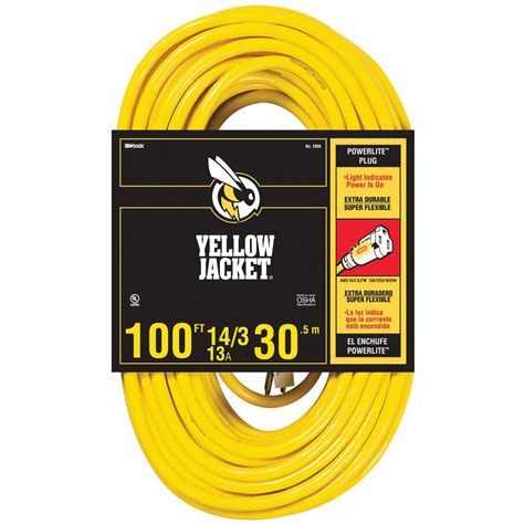 100 ft 14 outdoor extension cord yellow jacket 100 ft 14 3 sjtw outdoor heavy duty 13