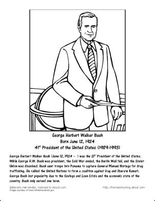 George W Bush Coloring Page by George H W Bush Worksheets And Coloring Pages