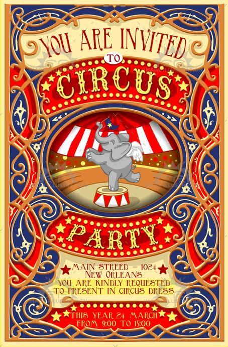vintage circus invitation template free circus invitation vintage image illustration