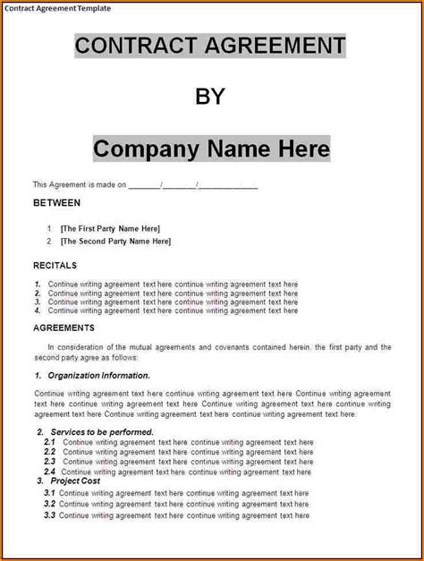 Small Business Agreement Template Adktrigirl Com Contract Agreement Letter Template
