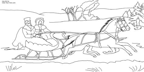 coloring page one open sleigh jingle bells sleigh coloring page