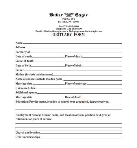 Fill In The Blank Obituary Template blank obituary template 7 free word excel pdf format