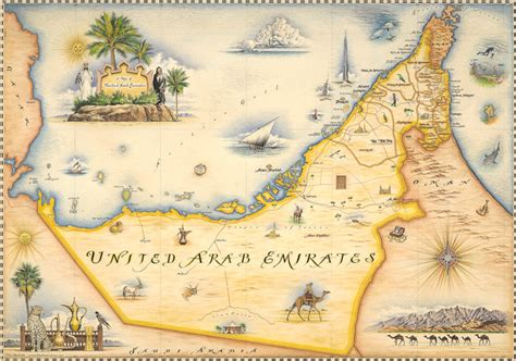 united arab emirates map xplorer maps antique style maps