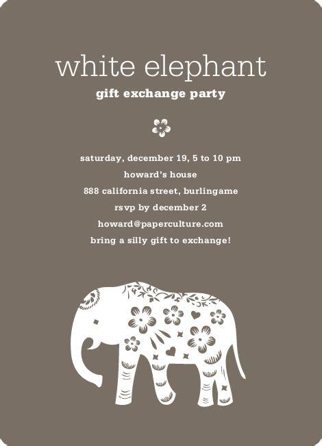White Elephant Christmas Invitations Ideas White Elephant Invitations Templates