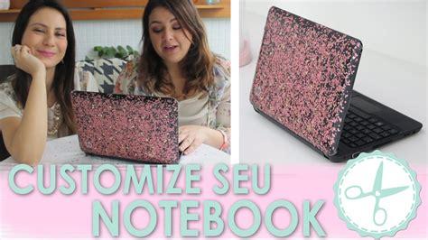 como decorar notebook papel contact customize notebook de glitter e esmalte wfashionista