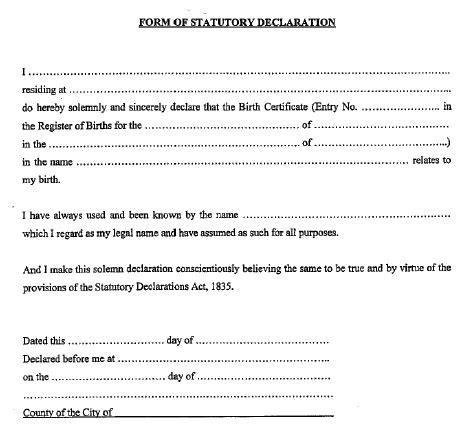 statutory declaration template name change statutory declaration template name change 28 images